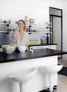 """Lovely, lovely Norwegian TV host Synnøve Skarbø in her beautiful kitchen. Featured in KK Living """"I am almost ashamed of how much this apartement means to me"""". Beautiful Kitchens, Homes, Tv, People, Home Decor, Houses, Decoration Home, Room Decor, Television Set"""