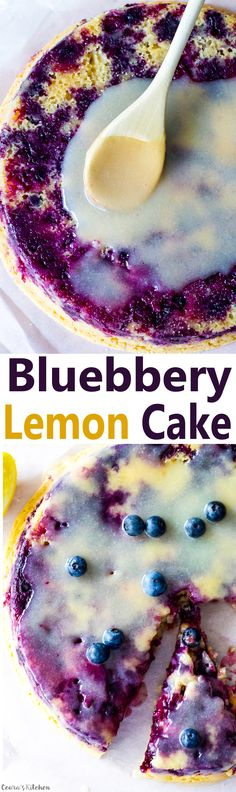 A moist, soft and sweet Vegan Lemon Blueberry Cake made with fresh lemon juice and ripe blueberries. Topped off with a creamy lemon glaze.