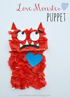 Love Monster Paper Bag Puppet to go with the book Love Monster. Fun kids craft for Valentine's Day. | from iheartcraftythings.com