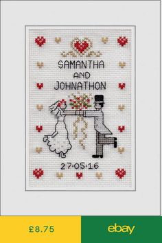 ROMANTIC PASTEL LOVEBIRDS WEDDING DAY SAMPLER CARD GIFT TAG CROSS STITCH CHART