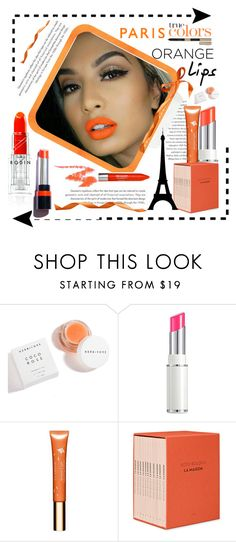"""Orange Lips in Paris"" by conch-lady ❤ liked on Polyvore featuring beauty, Herbivore, Lancôme, Clarins, Hermès and Estée Lauder"