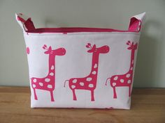 So Cute--would love the pattern. LARGE Fabric Organizer Basket Storage Container Bin - Size Large - Pink/White Giraffe Canvas Fabric