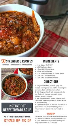 Turn canned soup into a high protein masterpiece with the simple Instant Pot recipe. Best Beef Recipes, Best Low Carb Recipes, Diet Recipes, Healthy Recipes, Healthy Options, Yummy Recipes, Crockpot Recipes, Soup Recipes, Healthy Foods To Eat