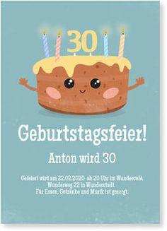 Kuchen in Blau Einladungskarten Geburtstag