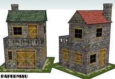 Here are two old building paper models, created by Mauther. They are very good for papercraft diorama or RPG. You may get these papercraft models here: Two Putz Houses, Fairy Houses, Old Stone Houses, House Template, Medieval Houses, Glitter Houses, Paper Houses, Paper Models, Model Trains