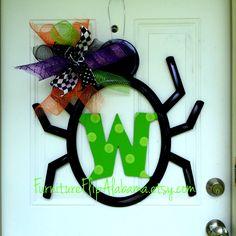 Halloween door hanger, personalized Halloween initial door hanger,Halloween wreath,Initial spider door hanger, Spider wreath,fall wreath by Furnitureflipalabama on Etsy
