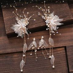 Brand from China: la Himi. Color: 1 Pair - Hair Clip, Materials: Tulle, Size: One Size: Hair Clip: Length: 18.2cm, Tassel: 19.9cm, Ear Accent: 3.5cm x 9cm, Care: N/A Hair Jewelry, Bridal Jewelry, Jewellery, Anime Drawing Styles, Kawaii Jewelry, Wedding Sets, Diy Wedding, Fantasy Jewelry, Hair Ornaments