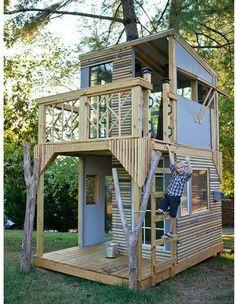 living treehouses Mod Tree House - modern - kids - nashville - by Bjon Pankratz Backyard Fort, Backyard Playground, Backyard For Kids, Children Playground, Playground Design, Cubby Houses, Play Houses, Outdoor Play, Outdoor Living