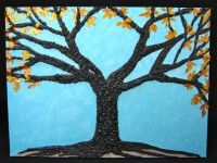 "PazleeButterfly - Online Store ""Blue Sky in Autumn"" 18x24 Mixed media painting http://www.PazleeButterfly.com"