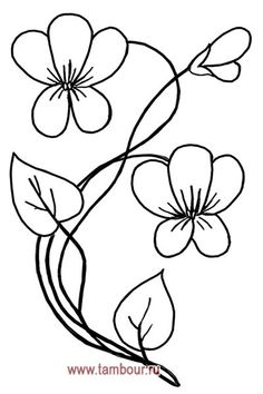 Embroidery Cards, Hand Embroidery Flowers, Embroidery Stitches, Embroidery Patterns, Simple Flower Drawing, Flower Art, Flower Coloring Pages, Coloring Book Pages, Border Embroidery Designs
