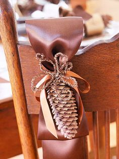 Pinecone and Ribbon Thanksgiving Chair Decorations