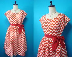 Japanese kimono dress - French sleeve - red and white by PriscillaTokyo on Etsy