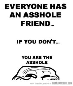 """""""Everyone has an asshole friend... If you don't... You are the asshole."""""""