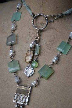 """The Story Told"", handmade Boho necklace with vintage components wire wrapping, pearls, semi-precious gemstone beads – even a mini ""book"" of text from an old book 