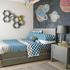 boys room. love the full chalkboard wall and hexagon shelves