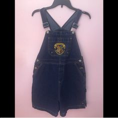 "Harry Potter Hogwarts Denim Overalls Shorts Kids' size 14/16, but I am 5'4"" and usually wear an adult XS/S, and they are still roomy on me (as well as fingertip length.) There is also a patch on the back with the HP logo :) Jeans Overalls"