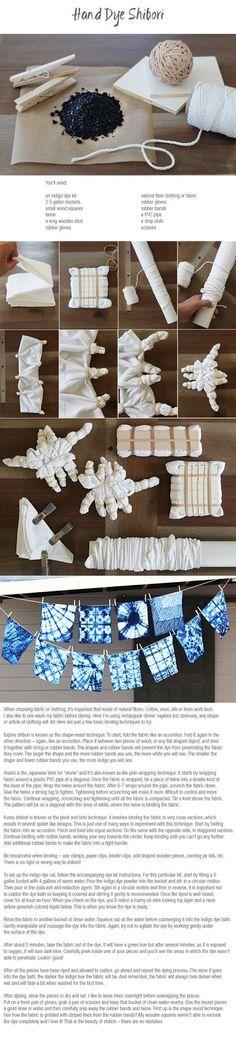 Conoscete lo Shibori ? Dopo il post sul batik, ecco una nuova tecnica, questa volta giapponese. E tutto nodi e prete sbizzarrivi anche facen...
