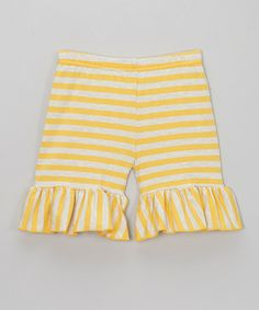 Loving this Yellow & Gray Stripe Ruffle Shorts - Infant, Toddler & Girls on #zulily! #zulilyfinds