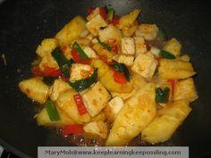 Pineapple Tofu Stir Fry- add bell peppers, prawns