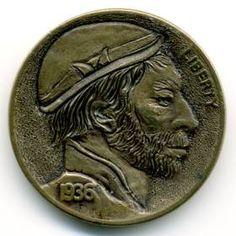 Steve Ellsworth - Eduardo Montañas Hobo, Buffalo, Classic Style, Coins, Carving, Rooms, Wood Carvings, Sculptures, Printmaking
