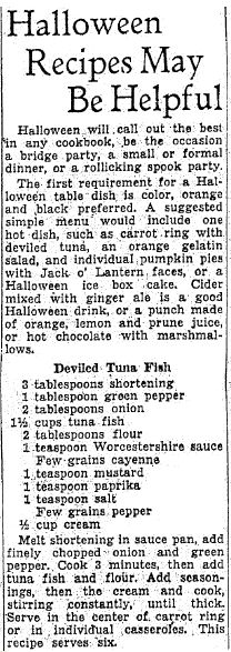 "Halloween recipes published in the Oregonian newspaper (Portland, Oregon), 26 October 1935. Read more on the GenealogyBank blog: ""Old Halloween Recipes from Our Ancestors' Kitchens."" http://blog.genealogybank.com/old-halloween-recipes-from-our-ancestors-kitchens.html"