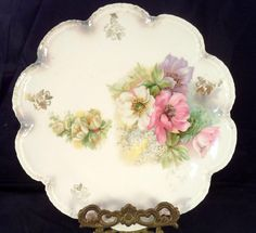 RS Prussia Scalloped Plate Pink Purple White Flowers Floral