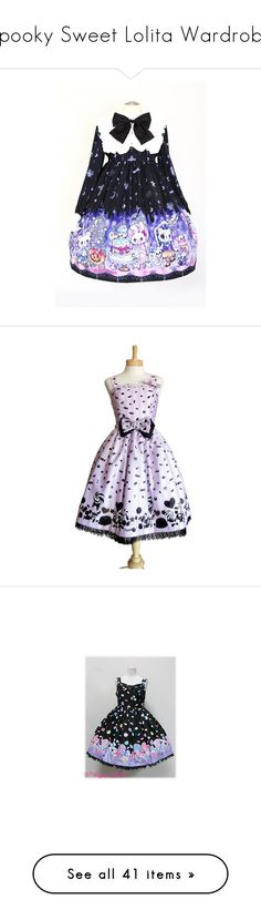 """Spooky Sweet Lolita Wardrobe"" by sakuuya ❤ liked on Polyvore featuring MIGH-T BY KUMIKO WATARI, Demonia, Ellen Tracy, sweet, lolita, SweetLolita, wardrobe, bittersweet, black and dresses"
