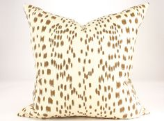 DESCRIPTION: Brunschwig & Fils LES TOUCHES Pillow Cover in a Medium Weight 100% Cotton in colorway Tan (Background is Cream)