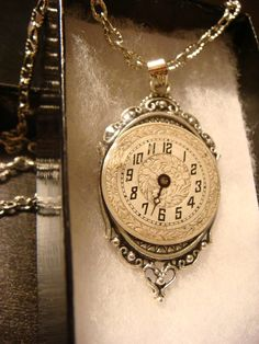 Recycled Vintage Watch Face Steampunk Pendant Necklace Victoran Style - Upcycled Jewelry - Recycled Watch Part Jewelry (1388) on Etsy, $18.00