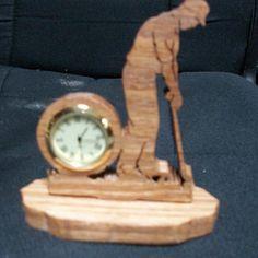 Wooden Male golfer  miniature desk  clock by Fine Crafts on Opensky
