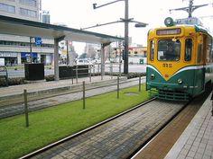 Grass truck of streetcar in Kagoshima city, Japan