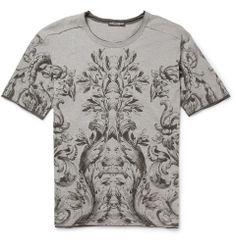 Dolce & GabbanaBotanical-Print Wool-Blend Jersey T-Shirt|MR PORTER $425