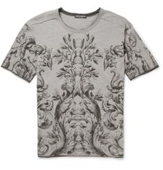 Dolce & Gabbana Botanical-Print Wool-Blend Jersey T-Shirt | MR PORTER $425
