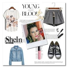 """""""Grey Shorts Shein"""" by dudavagsantos ❤ liked on Polyvore featuring Converse, Anja, Bobbi Brown Cosmetics and shein"""