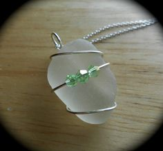 Sea Glass Necklace  Beach Glass Heart Wrap by SeaFindDesigns