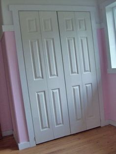 Closet Makeover a la Ana White Closet Door Storage, Closet Doors, Closet Organization, Bedroom Storage, Organization Ideas, Ana White, Closet Door Alternative, Kid Closet, Closet Ideas
