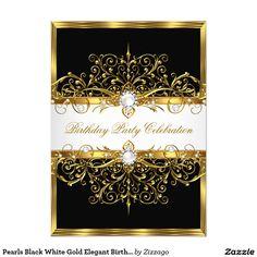 Pearls Black White Gold Elegant Birthday Party 4.5x6.25 Paper Invitation Card