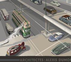 Citroën (Detail) © Laurent Durieux by Laurent Durieux, via Flickr Laurent Durieux, Sience Fiction, Classic Sci Fi, London House, Car Illustration, Future City, Retro Futurism, Retro Art, Sci Fi Art