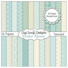 Winter Kiss Digital Scrapbook  Papers in Blue White by DigiScrapDelights