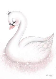 Engel - Version 1 - Tutu Irresistible Boutique - Betty's - Cute Animal Drawings, Cute Drawings, Nursery Prints, Nursery Art, Wall Prints, Scrapbooking Image, Lila Baby, Baby Swan, Beautiful Swan