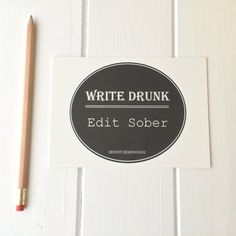 Ernest Hemingway Quote Postcard 'Write Drunk by LiteraryEmporium