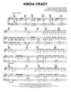 Preview Selena Gomez Kinda Crazy Pop sheet music, notes and chords for Piano, Vocal & Guitar (Right-Hand Melody), SKU: 449515