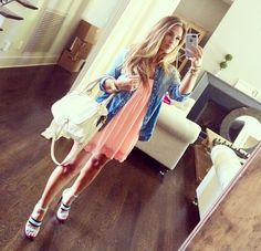 super cute simple summer outfit. Pink baby doll dress, jean jacket and the heels are amazing!