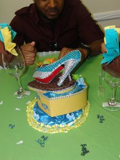 Sexy Bling Shoe #centerpiece for baby shower.  handcrafted by RaTonya at BelleCreations BelleCreations.net