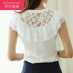 Blouse with Lace and double flounce detail  back view