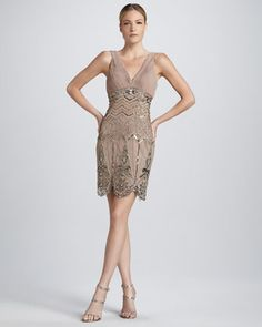 Sleeveless Beaded Cocktail Dress  by Sue Wong at Neiman Marcus. Reminds me of art deco - great gatsby