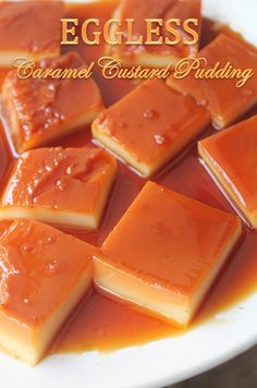 Flan with pudding fruit - Healthy Food Mom Eggless Custard Recipe, Caramel Custard Recipe, Caramel Pudding, Custard Pudding, Custard Recipes, Caramel Recipes, Pudding Recipes, Cheesecake Recipes, Eggless Desserts