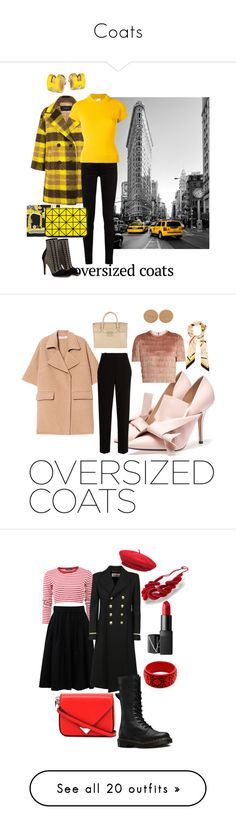 """""""Coats"""" by styleociety ❤ liked on Polyvore featuring Pink Tartan, Gucci, RED Valentino, Hermès, Bao Bao by Issey Miyake, Marni, The Row, Raey, Furla and Chanel"""