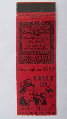 Tally-Ho - Chicago Restaurant 20 Strike Matchbook Cover Illinois Matchcover IL