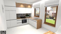 nowoczesna kuchnia biel i drewno
